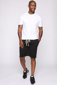 Retro Track Short - Black/White Angle 2