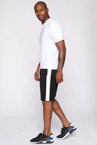 Retro Track Short - Black/White Angle 4