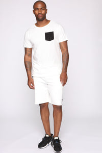 Post Cargo Short - White/Black Angle 3