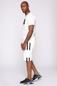 Post Cargo Short - White/Black Angle 2