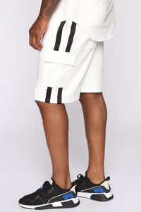 Post Cargo Short - White/Black Angle 1