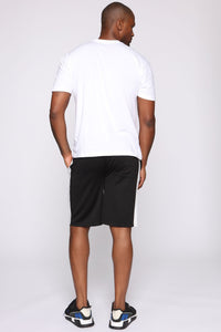 Retro Track Short - Black/White Angle 5
