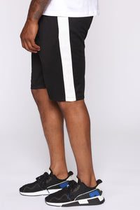 Retro Track Short - Black/White Angle 1