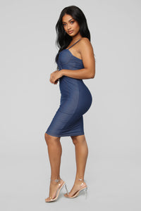 Denim Me Down Midi Dress - Dark Denim