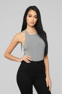 Stacy Racerback Bodysuit - Charcoal Angle 2