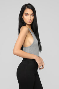 Stacy Racerback Bodysuit - Charcoal Angle 4