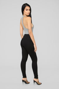 Stacy Racerback Bodysuit - Charcoal Angle 6