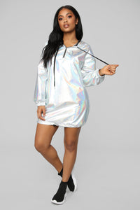 Iridescent Vibes Tunic Dress - Silver Hologram