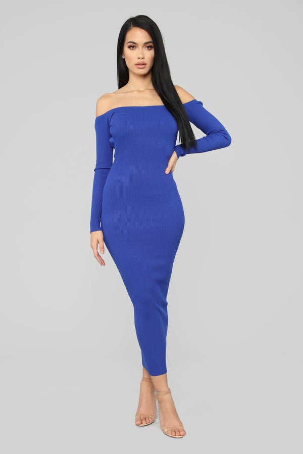 8b09fa7f2fe0 Hang Back With Me Off Shoulder Dress - Royal