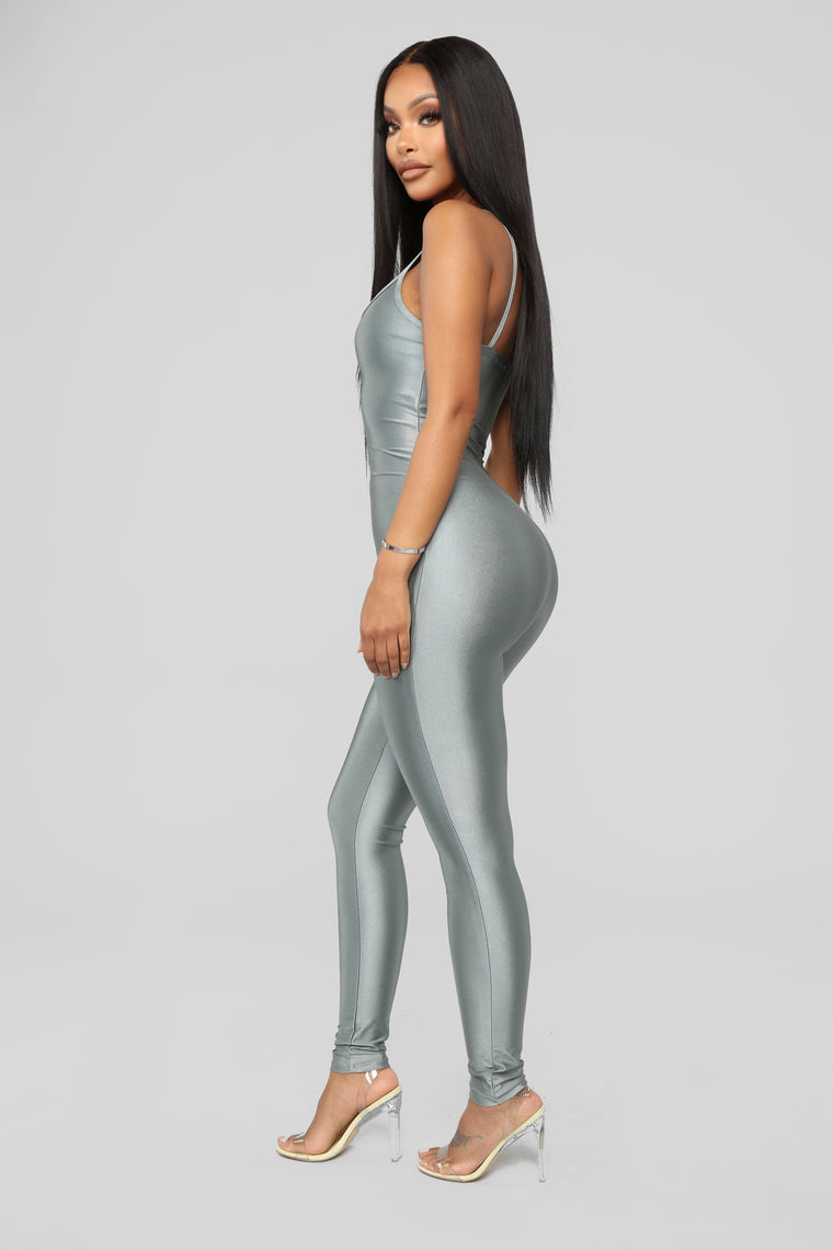 Curves For Miles Jumpsuit - Silver