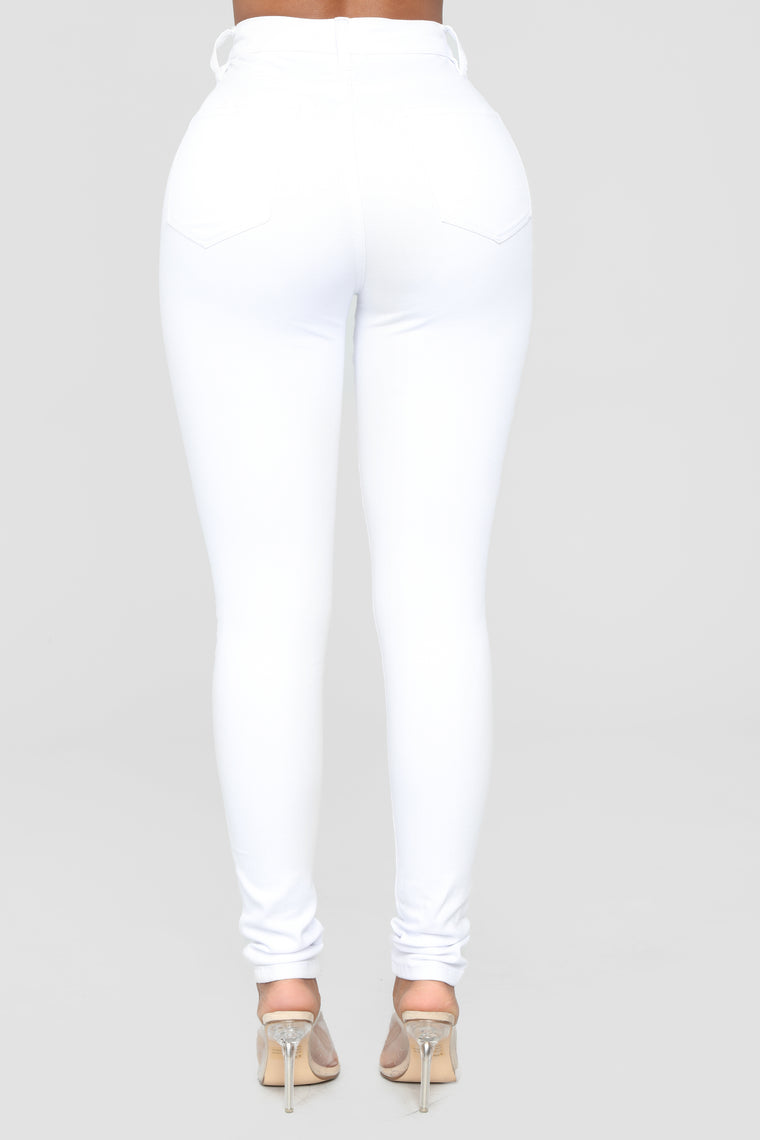 Classic High Waist Skinny Jeans - White
