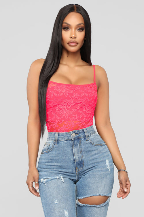 Mayra Lace Bodysuit - Neon Pink 830a123b8