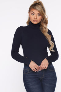Meet Me Somewhere Outside Turtleneck Sweater - Navy Angle 1