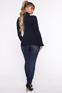 Meet Me Somewhere Outside Turtleneck Sweater - Navy Angle 5