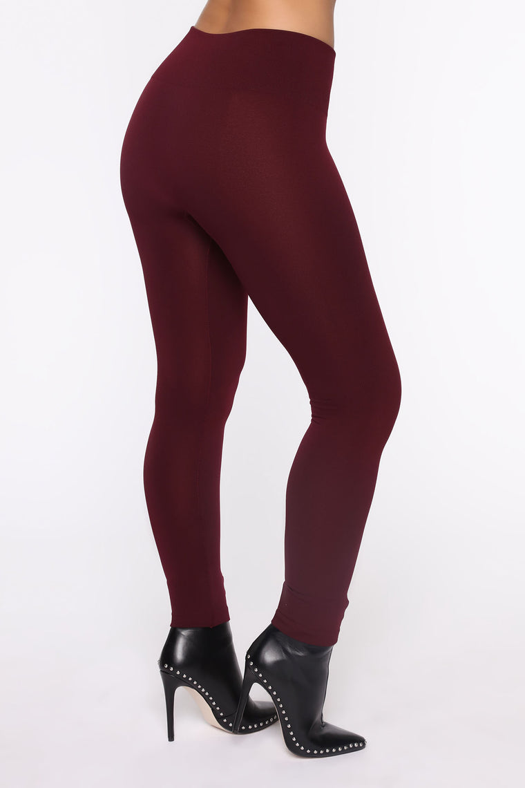 Smooth It Out High Rise Legging - Burgundy