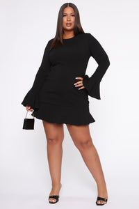 All Ruffled Up Bandage Mini Dress - Black