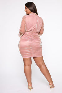 After Sunset Mesh Mini Dress - Mauve