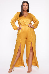 Shanel Wide Leg Jumpsuit - Mustard Angle 1