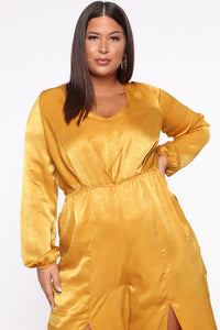 Shanel Wide Leg Jumpsuit - Mustard Angle 3