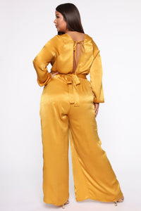 Shanel Wide Leg Jumpsuit - Mustard Angle 2