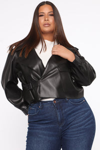 Taking Cover PU Leather Jacket - Black Angle 7