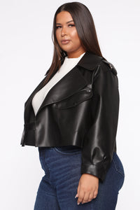 Taking Cover PU Leather Jacket - Black Angle 8