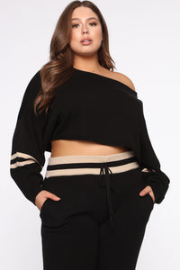 On The Run Sweater Set - Black/Taupe