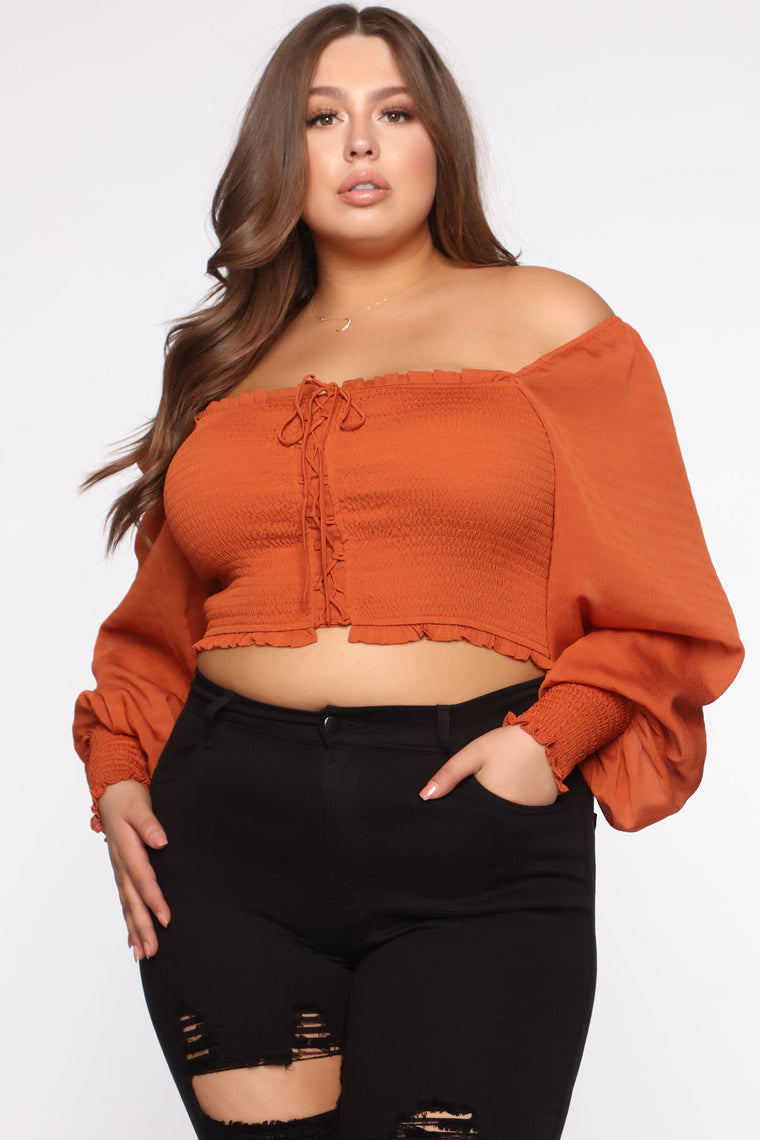 Smock Away Lace Up Top - Cognac