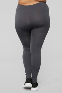 Double Down Fleece Leggings 2 Pack - Black/Grey