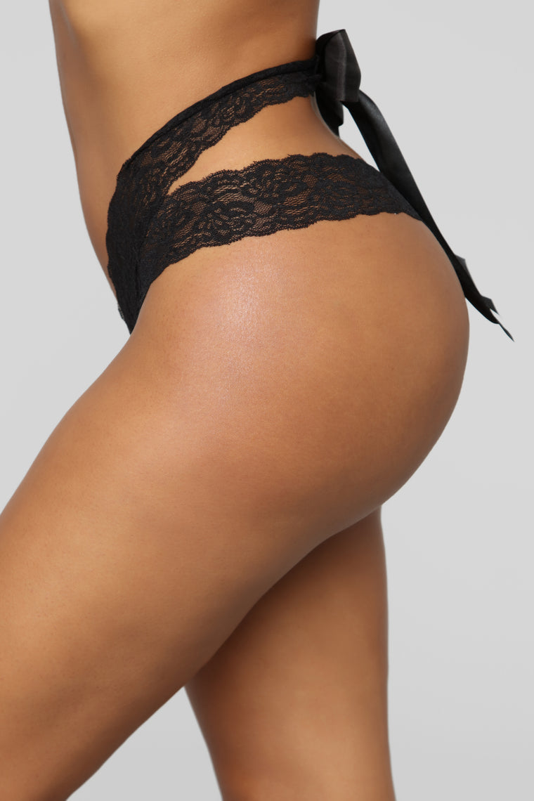 Tie Me Up Lace Thong Panty - Black