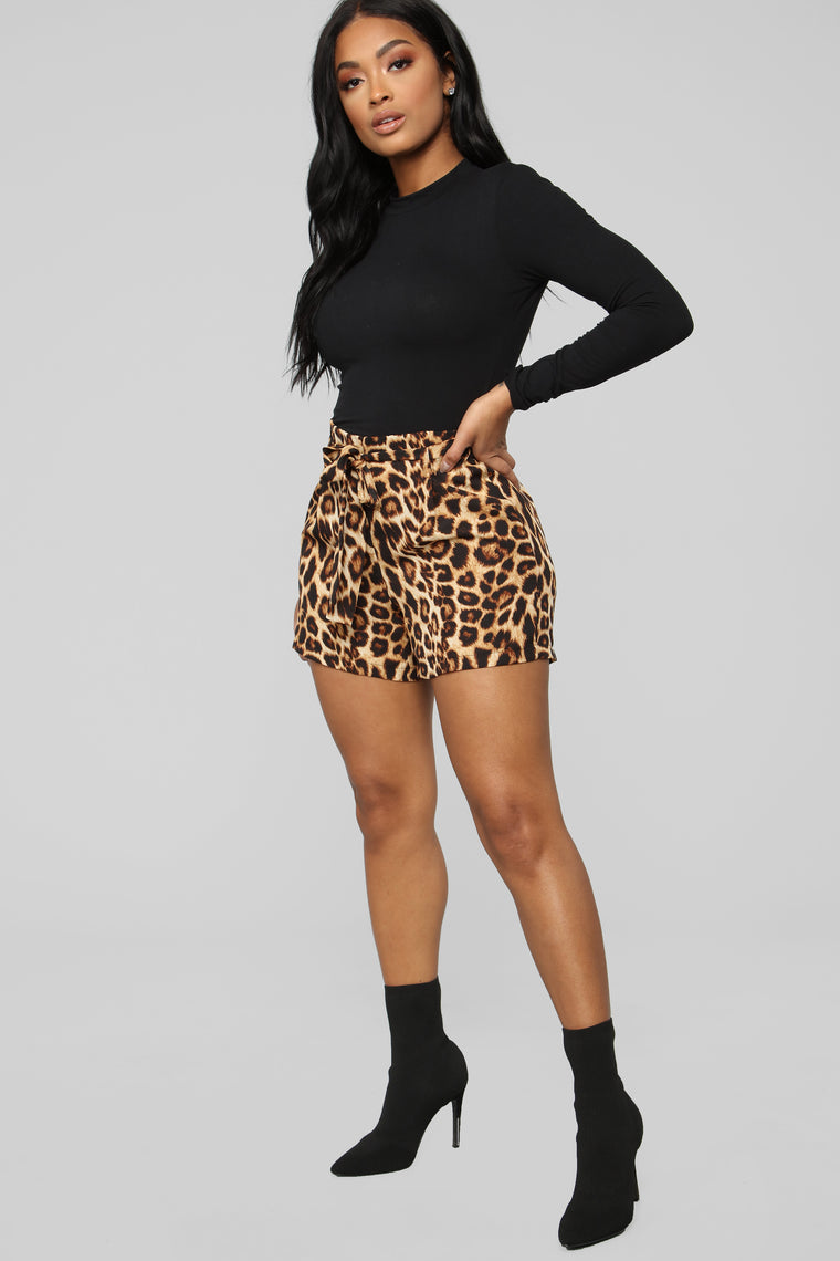 A Rawr Moment High Rise Shorts - Leopard