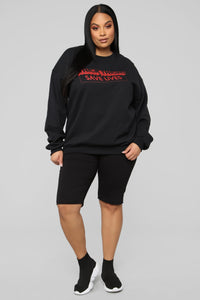 Thick Thighs Save Lives Sweatshirt - Black/Red Angle 8