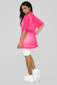 Your Bright Future Short Sleeve Top - Neon/ Pink