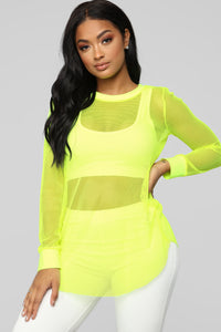 Try And Stop Me Long Sleeve Top - Neon Yellow