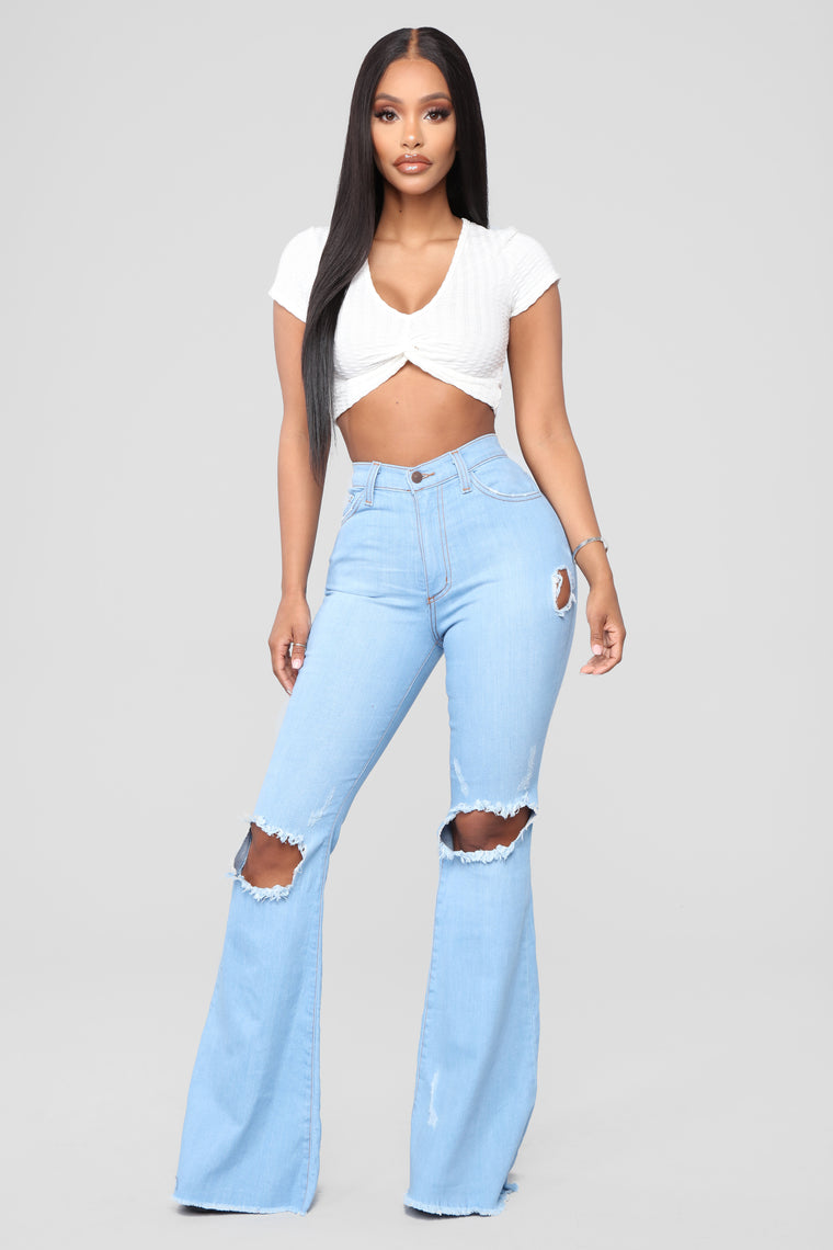 Dazed For Days Flare Jeans - Light Blue Wash