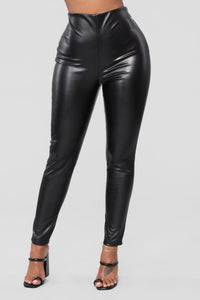 Causing A Scene Faux Leather Pants - Black
