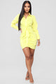 Knot In The Mood Shirt Dress - Yellow