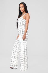 See It My Way Jumpsuit - White/Black