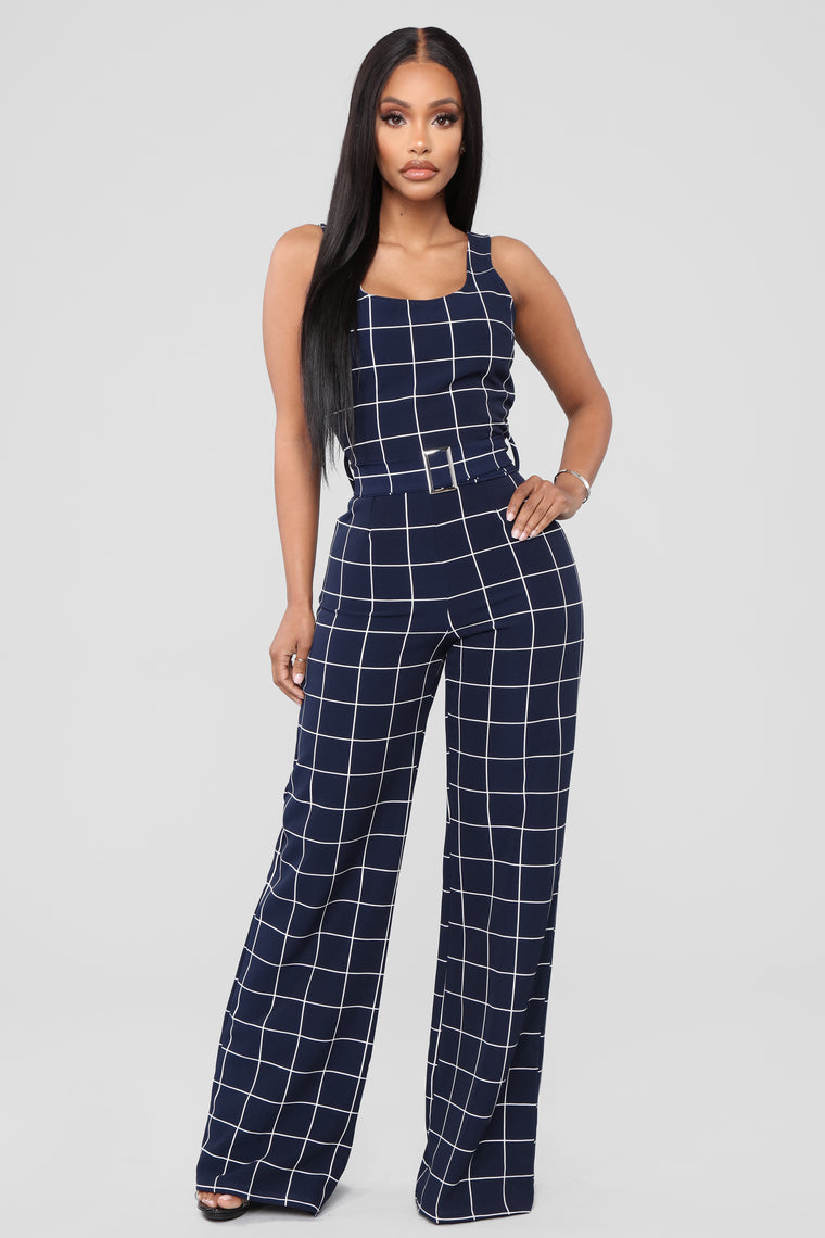See It My Way Jumpsuit - Navy/White