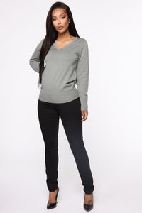 Keep It Classic V Neck Sweater - Sage Angle 2