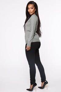 Keep It Classic V Neck Sweater - Sage Angle 4