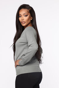 Keep It Classic V Neck Sweater - Sage Angle 3