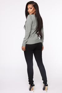 Keep It Classic V Neck Sweater - Sage Angle 5