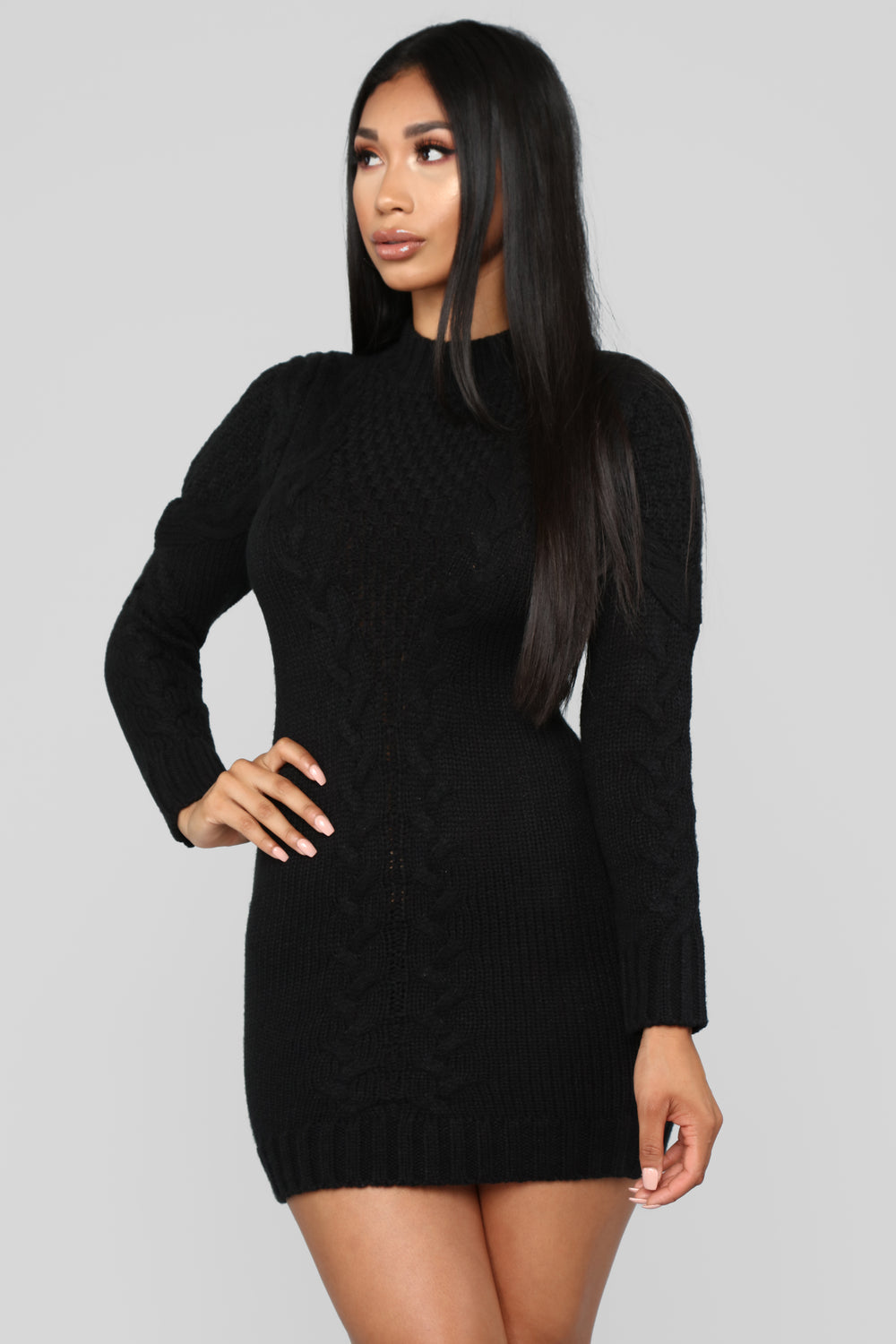 Just In Time Sweater Dress - Black