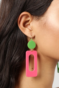 Rolling Down The Block Earrings - Pink/Green Angle 3
