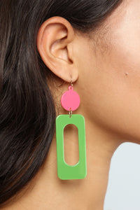 Rolling Down The Block Earrings - Pink/Green Angle 4