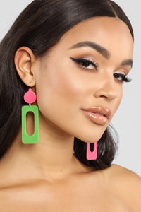 Rolling Down The Block Earrings - Pink/Green Angle 1