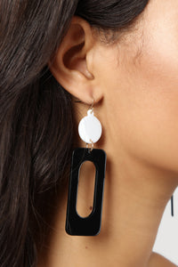 Rolling Down The Block Earrings - Black/White Angle 1