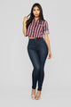 Late Night Snack Stripe Top II - Burgundy