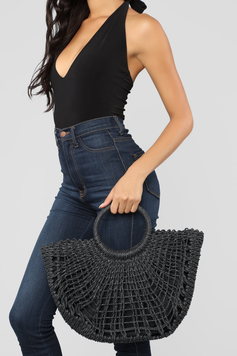In Straw Mental Bag - Black